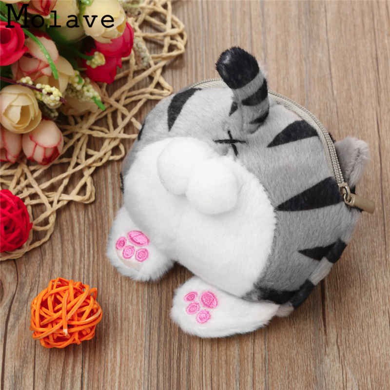 Naivety Velour Coins Purses Mini Cat Coin Purse Cartoon Prints Wallet Cute Zipper Bag 30S71213 drop shipping