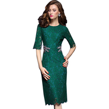 2017 Spring Embroidery Womens Dresses Half Sleeve Dark Green Lace Dress Elegant Summer Office Business Bodycon Party Dresses