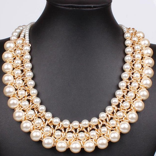 b981c2a2a IMIXLOT Vintage Gold Color Three Layer Simulated Big Pearl Necklaces Chunky  Bib Statement Collar Charm Jewelry