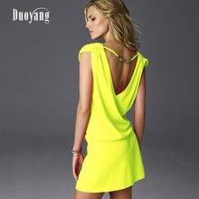 929d10aead593 Sundress Women Summer Dress 2018 V Collar Sexy Dress Ladies Fashion Yellow  Dress Plus Size Black White Backless Women Clothing