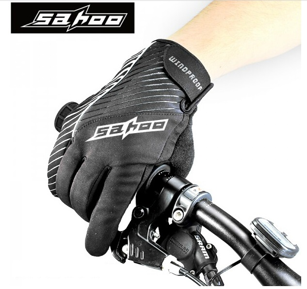 SAHOO Mens Cycling Gloves Winter Thermal Windproof Full Finger Bike Gloves Long Skiing Hiking Bicycle Gloves