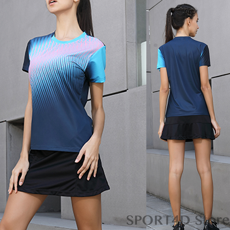 Women Sports Shirt+Tennis Skirt Volleyball Jerseys Women Badminton Table Tennis Shirt+Skirt Breathable Badminton Shirts