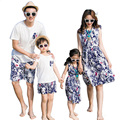 2017 New Summer family matching clothes Mother Daughter dresses Floral dress father son Sets short sleeve T shirt & Pants
