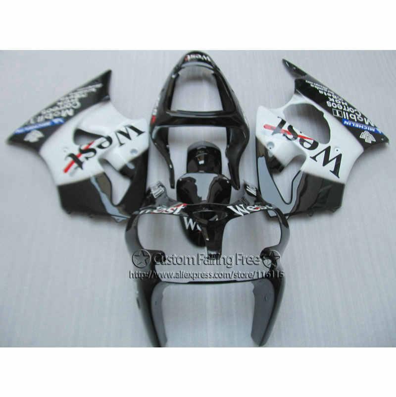 Инъекций 100% подходит для Kawasaki ZX6R 2000 2001 2002 комплект обтекателей ниндзя 636 ZX 6R Белый