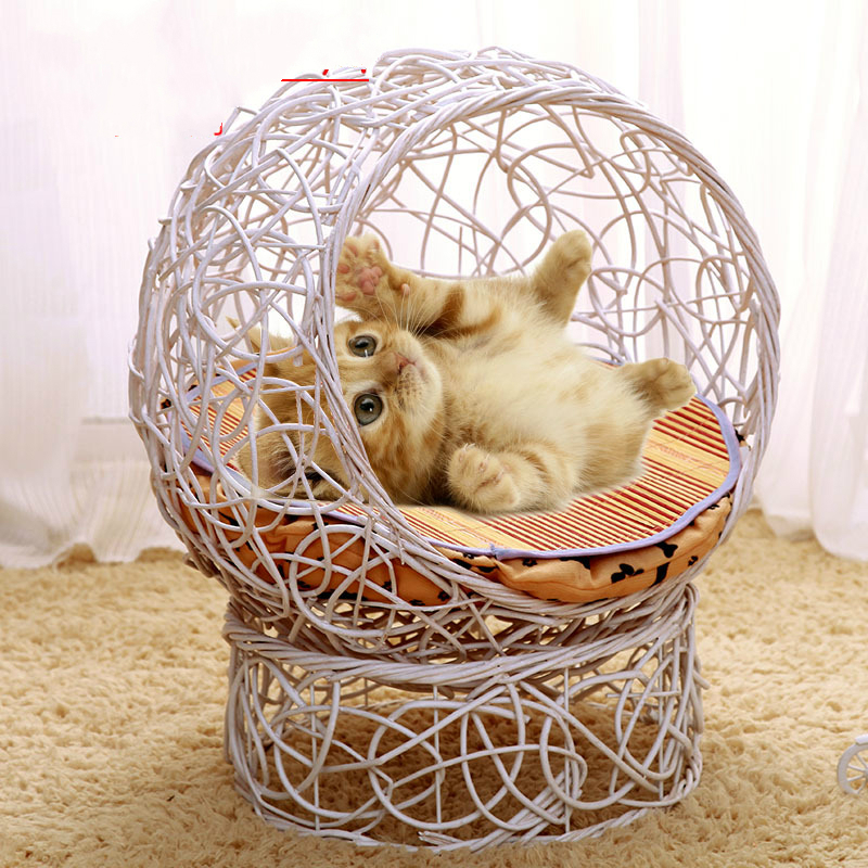 Wondrous Us 81 81 19 Off Rattan Iron Hand Wash Pets Beds Sofas Cat House Villa Cage Four Seasons Pet Nest Wicker Dog Beds For Small Puppys Teddy Kennel In Andrewgaddart Wooden Chair Designs For Living Room Andrewgaddartcom