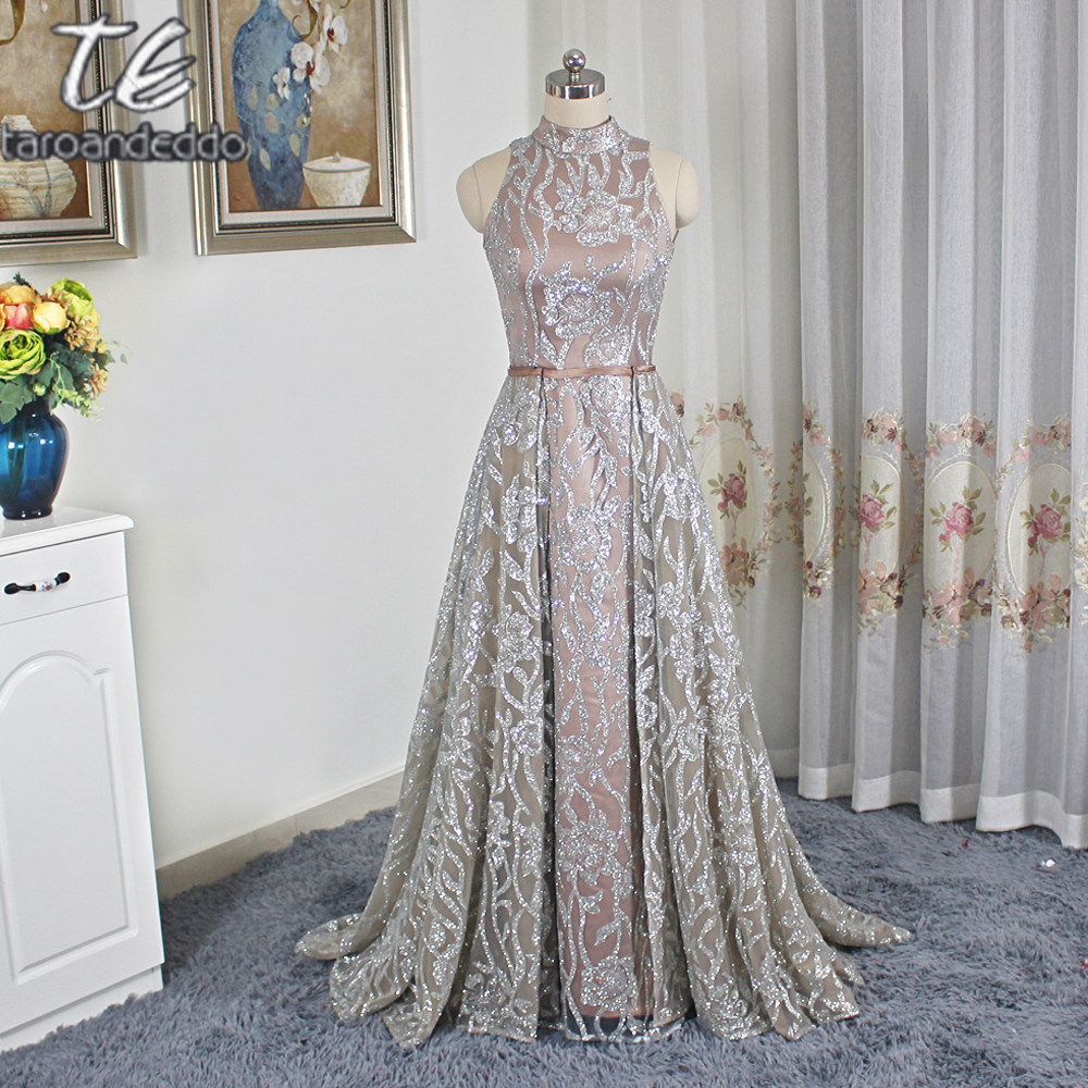 Exquisite Design High Neck Mermaid Sequin Two Pieces   Prom     Dress   Saudi Arabia Style Evening   Dress   with Detachable Skirt