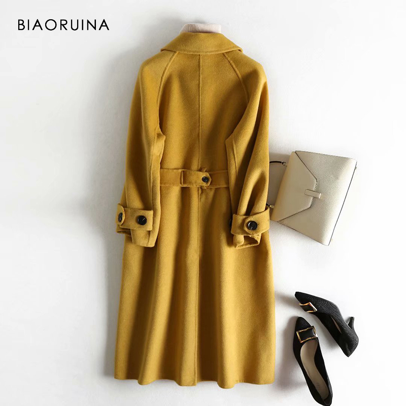 Kadın Giyim'ten Yün ve Karışımları'de BIAORUINA kadın 5 Renk 100% yün Tek Göğüslü Moda Uzun Ceket Ofis Bayan Şık Kore Tarzı Yün Palto sashes'da  Grup 2