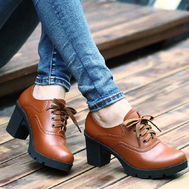 Hot Selling Vintage Lace Up Oxford Shoes For Women Fashion British Style Round Toe Woman Oxford