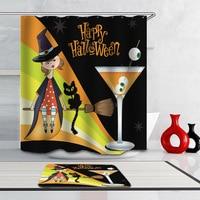 3D Waterproof Cartoon Shower Curtain Halloween Girl Bathroom Curtain Set 12pcs Hooks Polyester Rideau De Douche