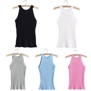 Image 3 - 2017 hot sale Women Summer Camisole Knitted Halter Off Shoulder O neck Vest Slim Tank Tops