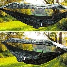 2 persona Portatile di Campeggio Esterna Amaca con Tenda Zanzariera di Alta Resistenza Tessuto Dei Paracadute Appeso Letto Caccia Altalena