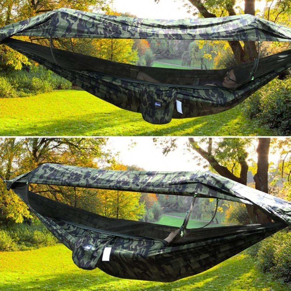 Hamac de Camping extérieur Portable 2 personnes avec auvent moustiquaire haute résistance Parachute tissu suspendu lit balançoire de chasse