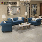 New classical europe design 6 seats dark blue trunk-nail crystal buttons fabric tufted sofa set with fringe cushions W35S