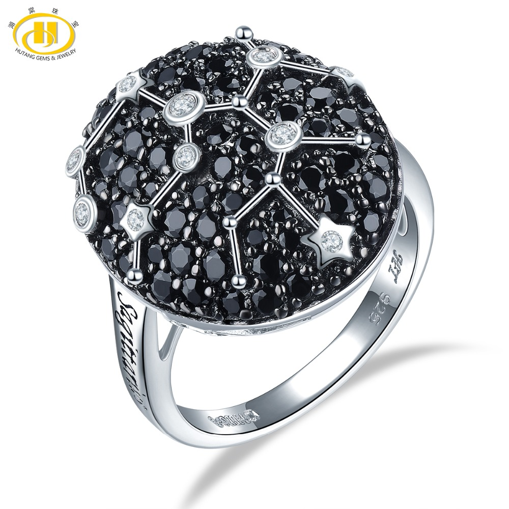 Hutang Sagittarius Rings Natural Gemstone Black Spinel 925 Silver Ring Fine Jewelry for Women s Birthday