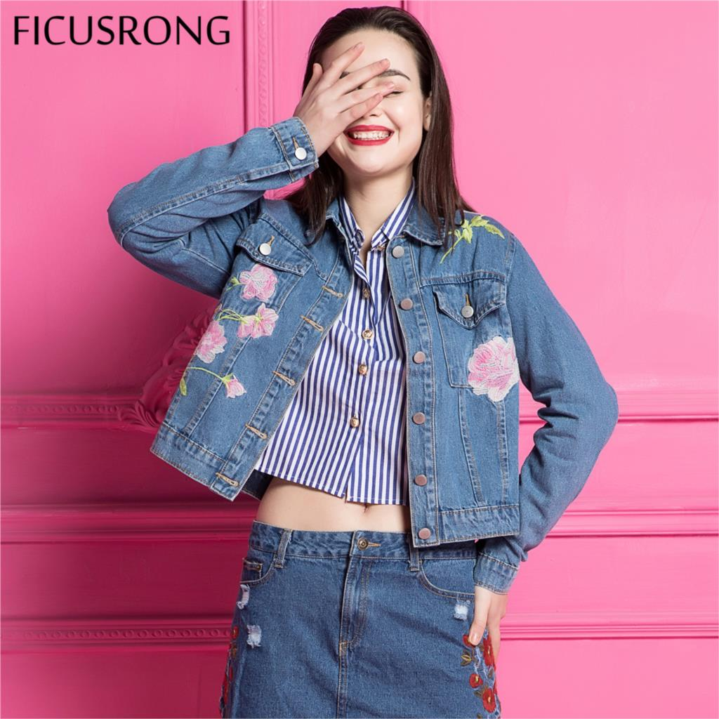Spring Autumn Girls Embroidery Denim   Jacket   For Women Fashion Jeans Outerwear Coat Female   Basic     Jackets   Coats Tops FICUSRONG