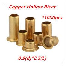 1000 PCS M0.9 (d) * 2.5 (L) de cobre oco rebite rebites tubulares de circuito double-sided placa PCB vias unhas