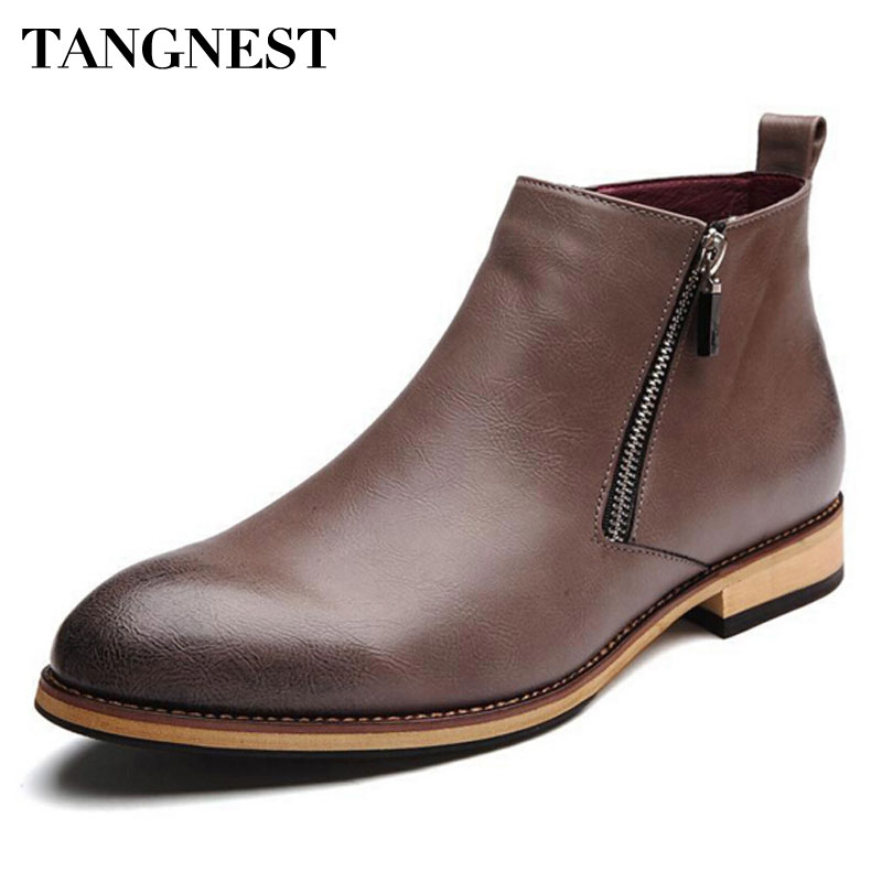 Tangnest Men Boots 2018 Fashion Pointed Toe Ankle Boots Winter Casual Men Genuine Leather Boots Man Flat Shoes Size 38-43 XMP368