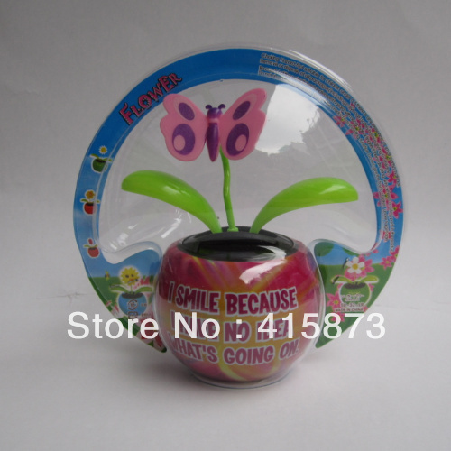 Free shipping (240pcs/lot) solar flip flap solar powered dancing flower with butterfly ST-NO037