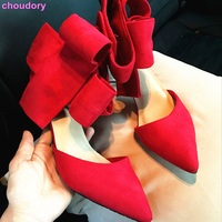 Luxury Brand Hot Red Suede Big Bowtie Dress Pumps Pointy Toe Shallow Cut Stiletto Heels Shoes