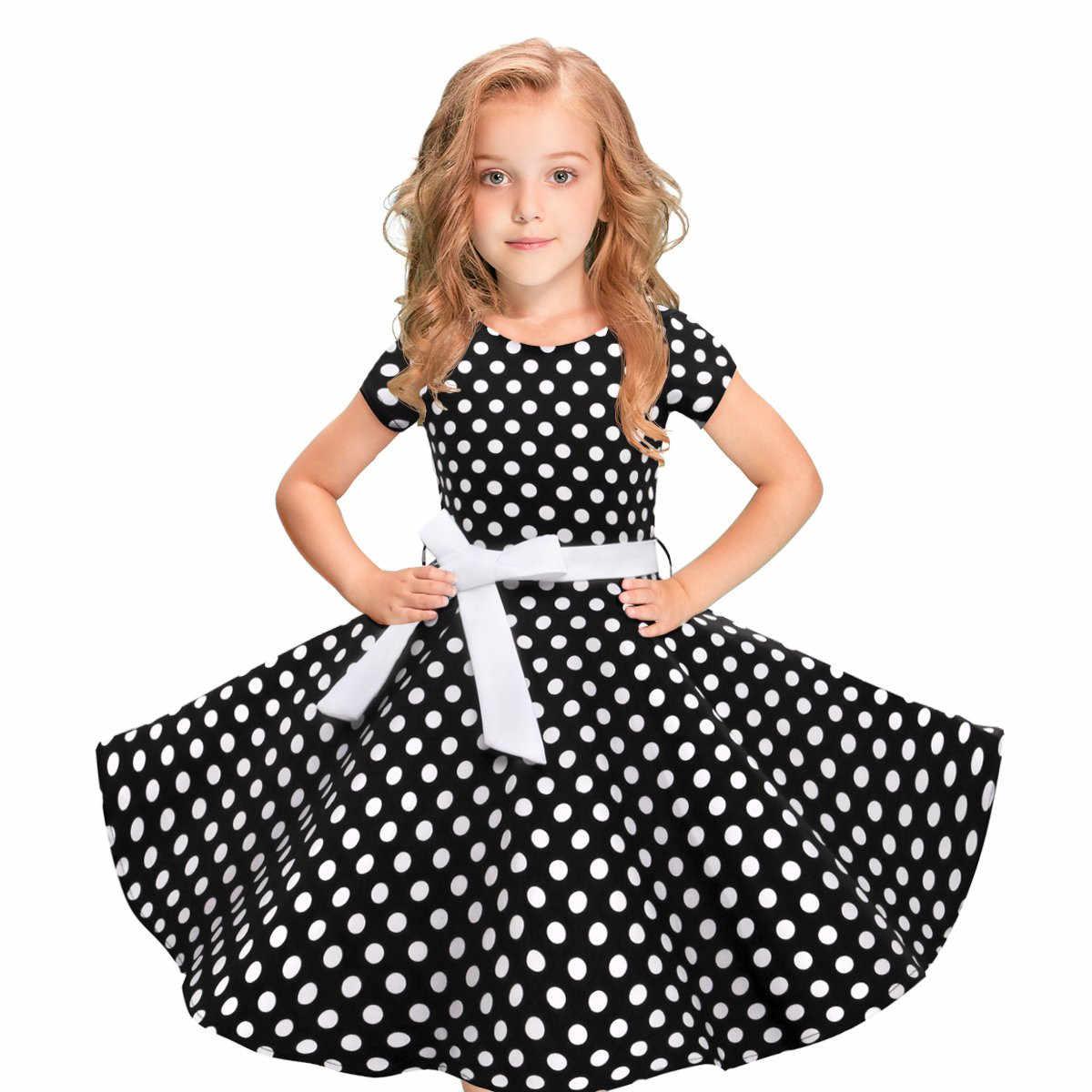 Chất Lượng Cao Trẻ Em Bé Gái Đầm Vintage Chấm Bi Công Chúa Đầm Rockabilly Đầm Dự Tiệc Mùa Hè Trẻ Em Đầm Dành Cho Bé Gái Mới