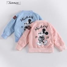 Mickey Jacket Kids Clothing Cartoon Printed Cotton Outwear Long Sleeve Flight