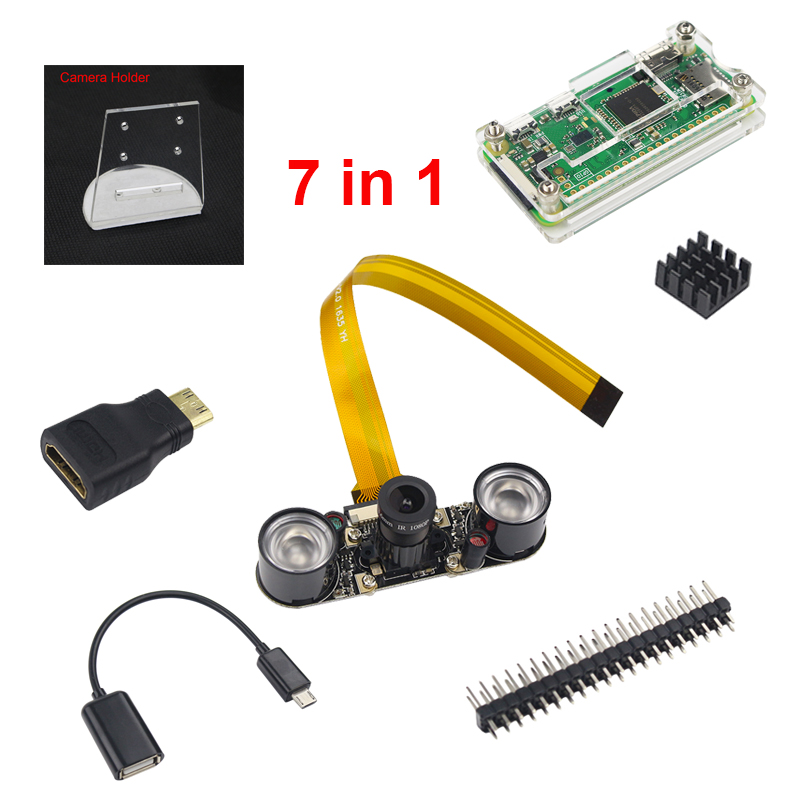 7 in 1 kit Raspberry Pi Zero Camera + Acrylic Case + Holder + Mini HDMI Adapter + GPIO Header + Mini USB Adapter + Heat Sink audio video hdmi cables male to male female adapter micro usb to usb cable wire male header gpio pins for raspberry pi zero kit
