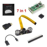 7 in 1 kit Raspberry Pi Zero Camera + Acrylic Case + Holder + Mini HDMI Adapter + GPIO Header + Mini USB Adapter + Heat Sink