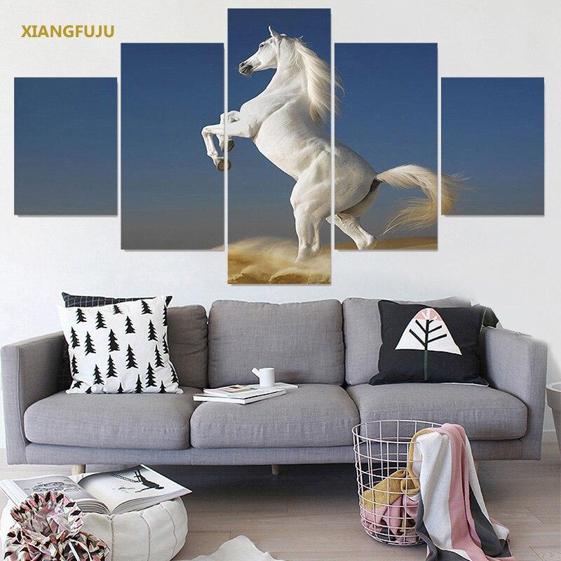 US $12.65 |Casa di Arte Della Parete Cavallo Bianco Tela Quadri Moderni per  Soggiorno Stampe Su Tela Pittura Camera Dei Bambini Modulare 5 pz/set in ...