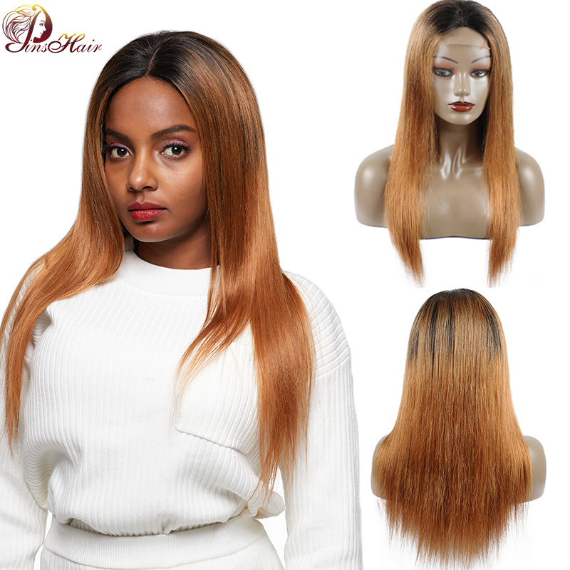 Ombre Blonde Brazilian Straight Hair Lace Front Wig With Closure T1B/30 Lace Front Human Hair Wigs For Black Women Non Remy Wigs