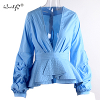 Women Sexy Deep V Neck Blue White Stripe Ruffles Blouse Ladies Elegant Party Cocktail Clothing Shirts
