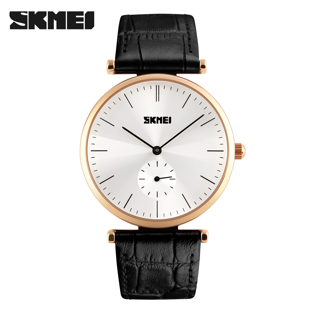 Men Watches Luxury Brand SKMEI Ultra Thin Genuine Leather Clock Male 30m Waterproof Casual Sport Watch Men Wrist Quartz Watch  skmei lovers quartz watches luxury men women fashion casual watch 30m waterproof simple ultra thin design wristwatches 1181