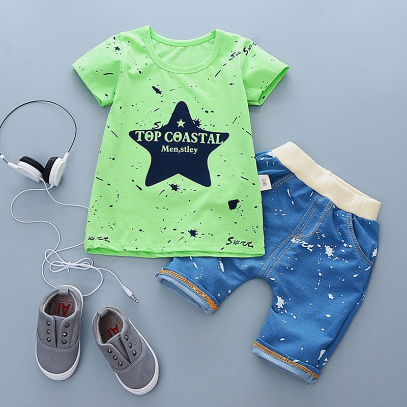 Child 2018 summer infant baby boy clothes outfits sports suits 2pcs sets for baby boy clothing set 100% cotton design tracksuit 2pcs set baby clothes set boy