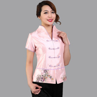 Classy Pink Female Embroidery Flower Blouse Chinese Traditional Summer Satin Shirt Handmade Button S M L