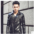 Cotton Flax Korean Slim plus velvet black machine wagon oblique zipper jacket men Fashionable tight leather jacket