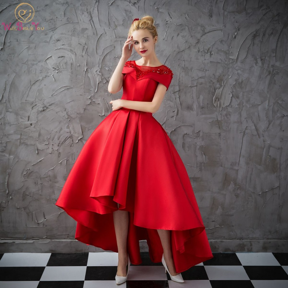 Walk Beside You Red   Prom     Dresses   Satin Puffy Ball Gown Short Sleeves Sheer Neck Appliqued Short Front Long Back Evening Gowns