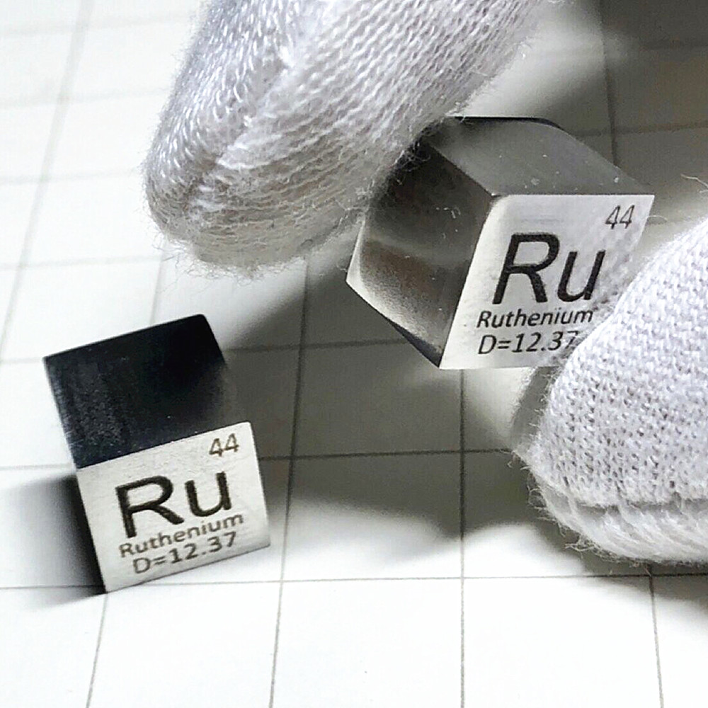 Metal Ruthenium Ru Cube Polished Precious Element Collection Science Experiment High Purity 10x10x10mm Ru Steel for Research