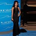 Последние дизайн русалка селена гомес стиль знаменитости вечернее платье спинки бисером для особых случаев Vestido лонго