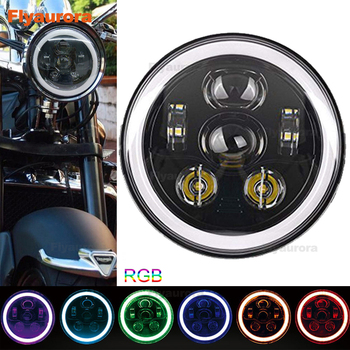 "Universa Motorcycle7 Inch LED Headlight RGB Multi-color Angel Eyes Projector for Any models motorcycles with 7"" headlight"