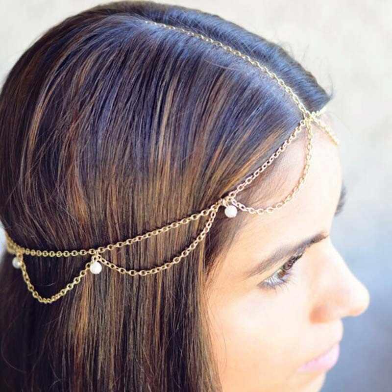 Accesorios para el cabello de la novia de la moda de la India de la joyería del pelo de la cadena de la cabeza de las perlas de imitación