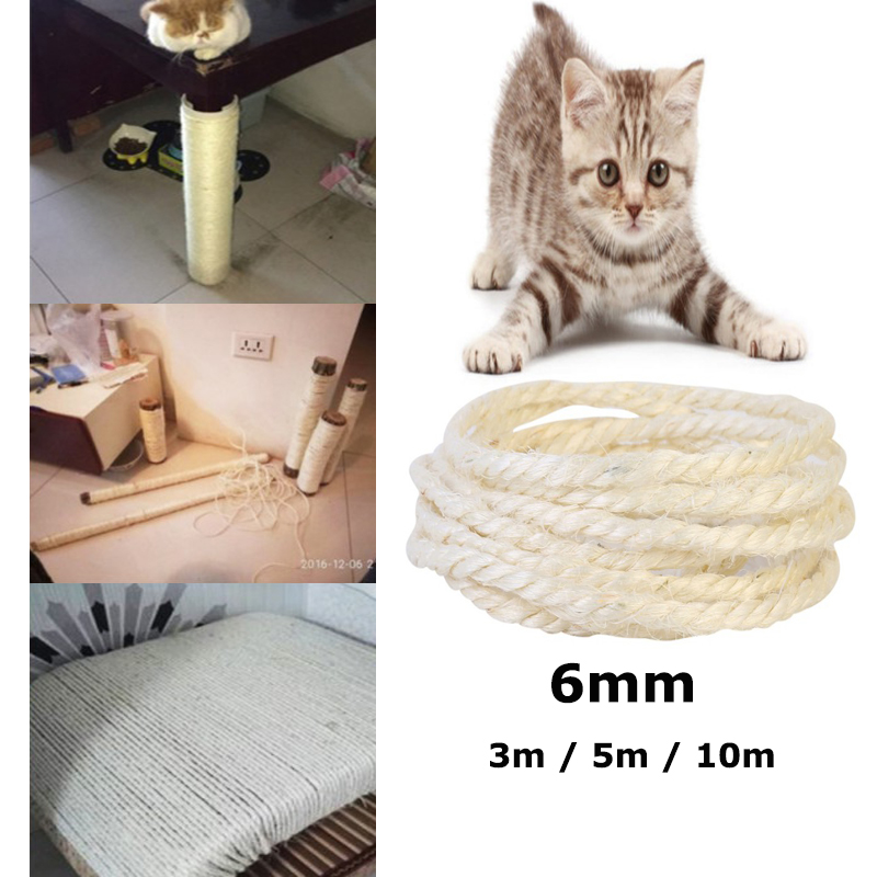 6mm Sisal Rope For Cats Scratching Post Toys Making Diy Desk Foot Stool Chair Legs Binding Rope Material For Cat Sharpen Claw