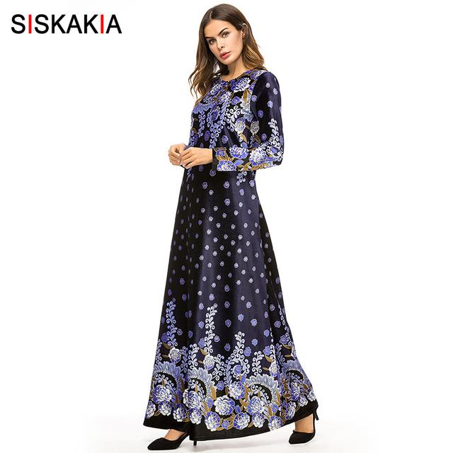Siskakia Vintage Print Velvet Long Dress Women Autumn Fall Urban Casual Maxi Dresses Muslim