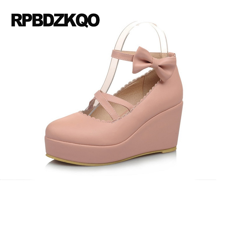 Bow 2017 Platform Wedge Shoes Ankle Strap High Heels 3 Inch Cute Pumps Round Toe Closed Women Size 4 34 Lolita Pink Strappy New real image green women sandal with platform wedge high heels open toe ankle strap comfortable shoes ladies new true to us size
