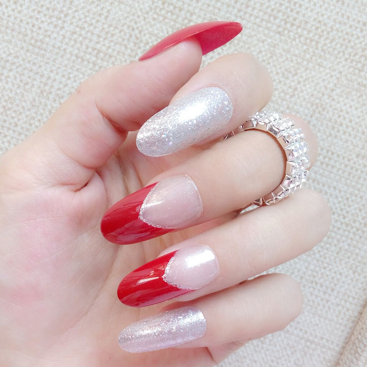 Glitter Silver Fake Nails Long Size Red False Nails Clear French ...