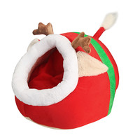 Hot Sale Cute Christmas Red Reindeer Pet Dog Cat Bed Cushion Puppy House Soft Christmas Reindeer