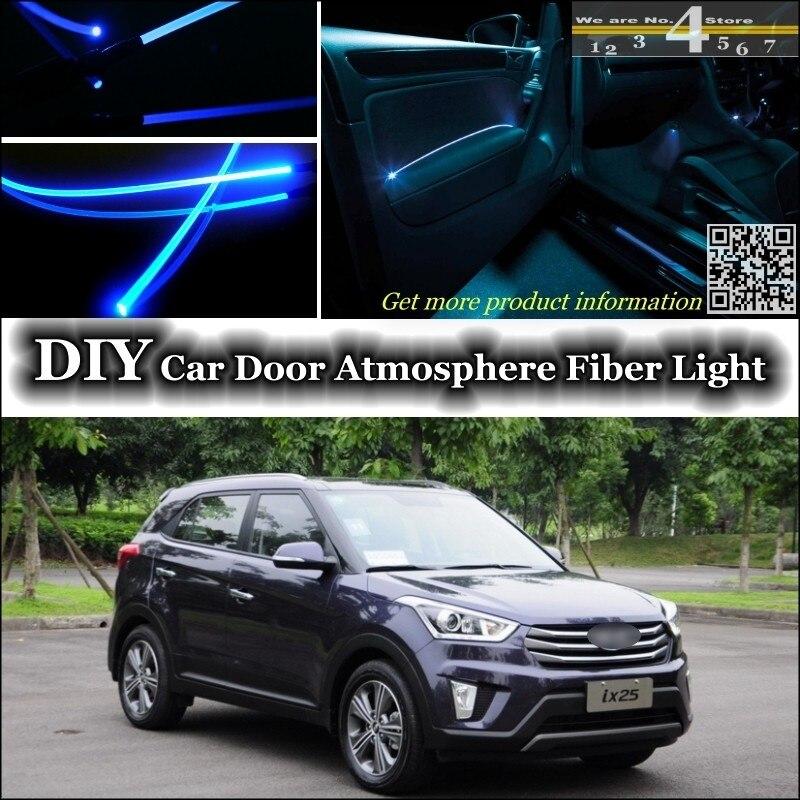 Pour Hyundai ix25 intérieur lumière ambiante Tuning atmosphère Fiber optique bande lumières intérieur porte panneau éclairage pas EL lumière