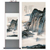 2014 New Large Abstract Art Wall Picture Oriental Scenery Chinese Painting Silk Scrolls Modern Decorative Office