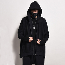 Oversize Men's Loose Batwing Sleeve Hoodies Fashion Casual Zipper Streetwear HIp Hop Hooded Sweatshirts 2016 Autumn New