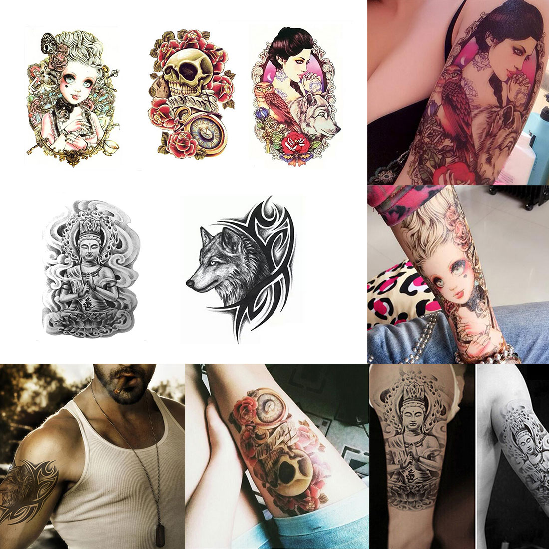 Online buy wholesale 3d tattoos pictures from china 3d for Fake body tattoos
