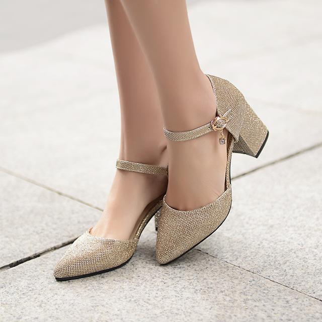 Nova moda chunk salto alto de ouro das mulheres do salto sapatos de verão saltos sapatas das senhoras rosa sapatos de noiva dedo apontado das mulheres do escritório bombas