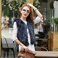 Párrafo Corto de piel de Mapache Hembra de Piel Real de Alta calidad Europea de Lujo Chaleco de Piel Chaleco del chaleco Para Las Mujeres